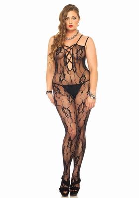 Bodystocking, zwart / Rose Lace Bodystocking - plus size