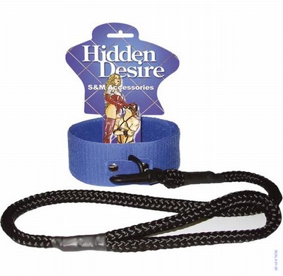 Blauwe klittenband collar + leash